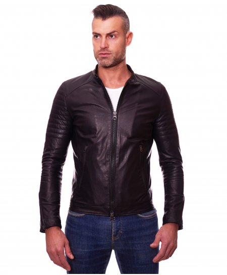 BRAD TRAP • black colour • Washed lamb leather jacket topstitched on shoulders