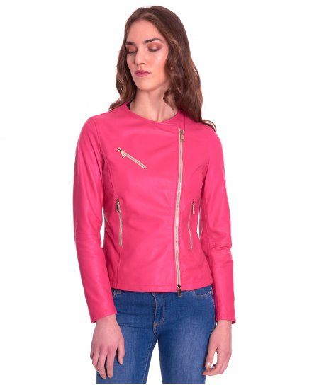 Fuchsia nappa lamb leather perfecto jacket round collar