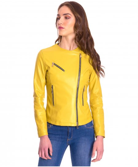 Yellow nappa lamb leather perfecto jacket round collar