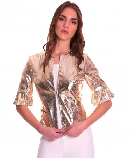 CLEAR PLISSE • gold colour • laminated lamb leather jacket pleated sleeve