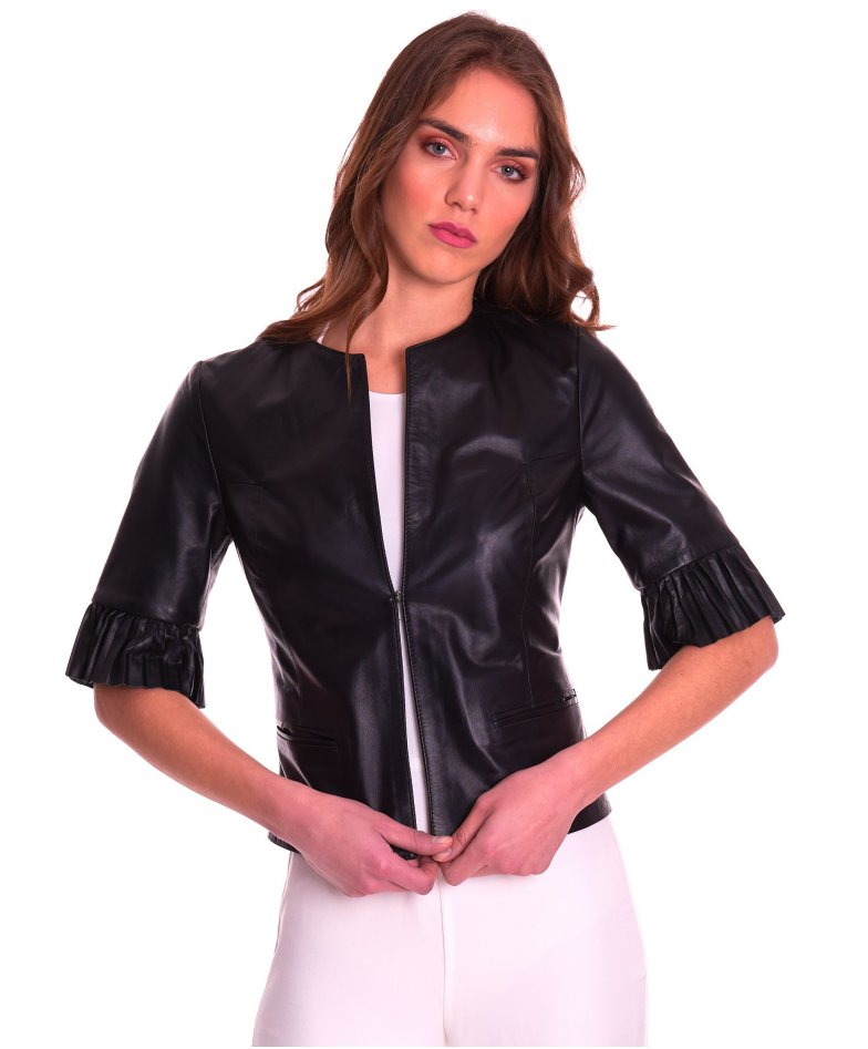 CLEAR PLISSE • black colour • lamb leather jacket pleated sleeve