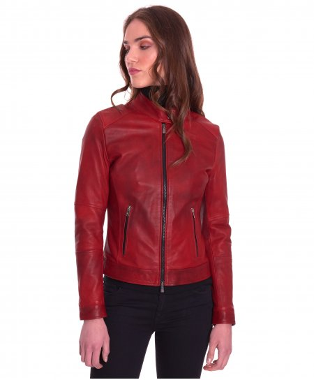 Red natural lamb leather biker jacket two pockets