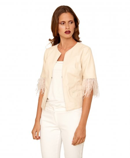 Beige nappa lamb leather bolero 3/4 sleeves