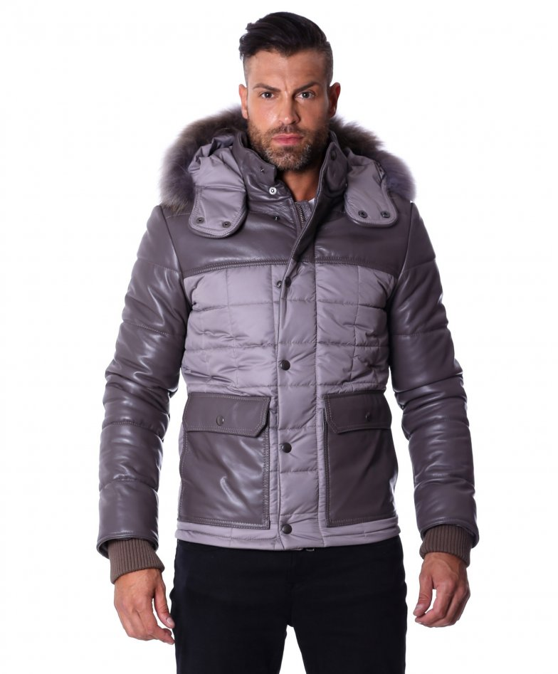 Grey hooded nappa lamb leather down hooded jacket