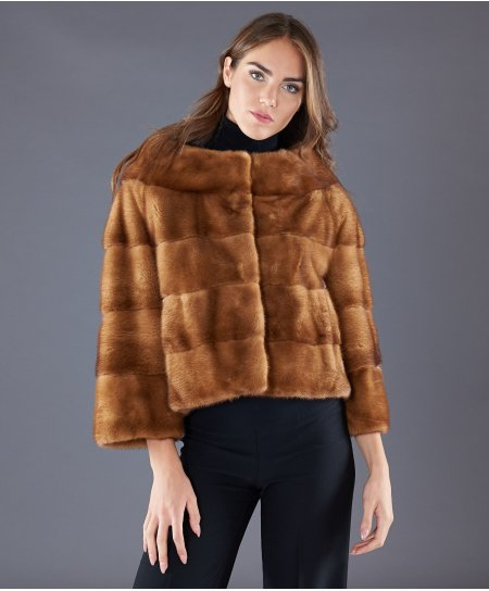 Mink fur jacket wide ring collar • honey colour