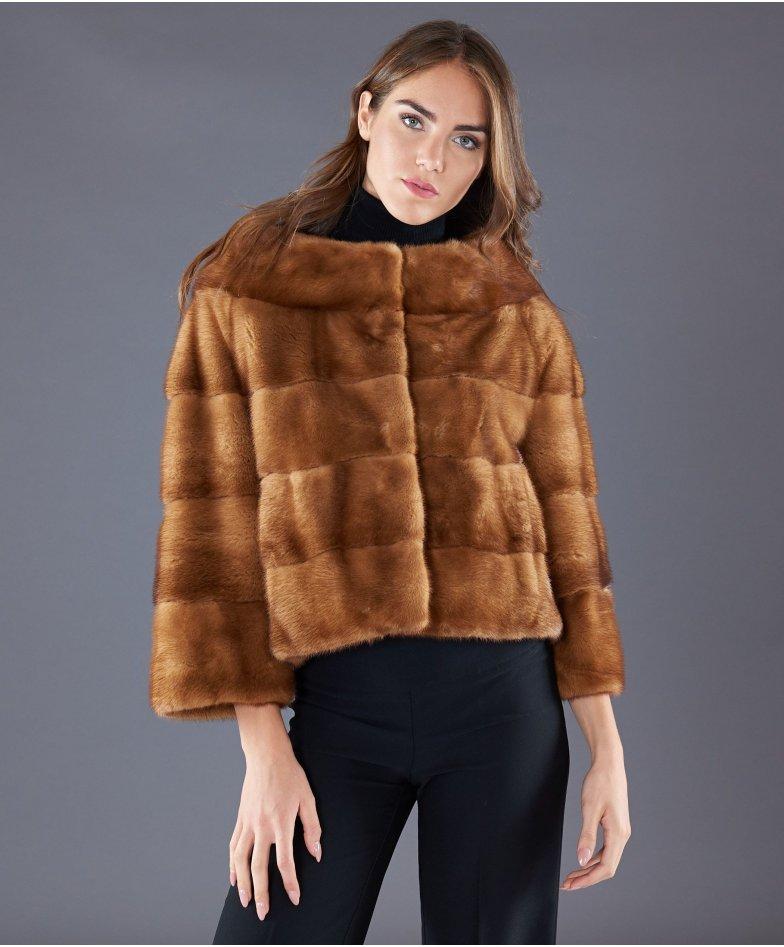 Mink fur jacket wide ring collar • honey colour