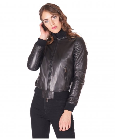 Black nappa lamb leather bomber jacket