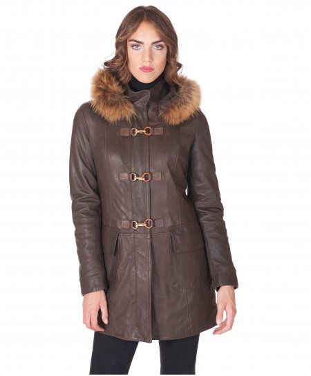 Dark brown hooded natural lamb leather coat