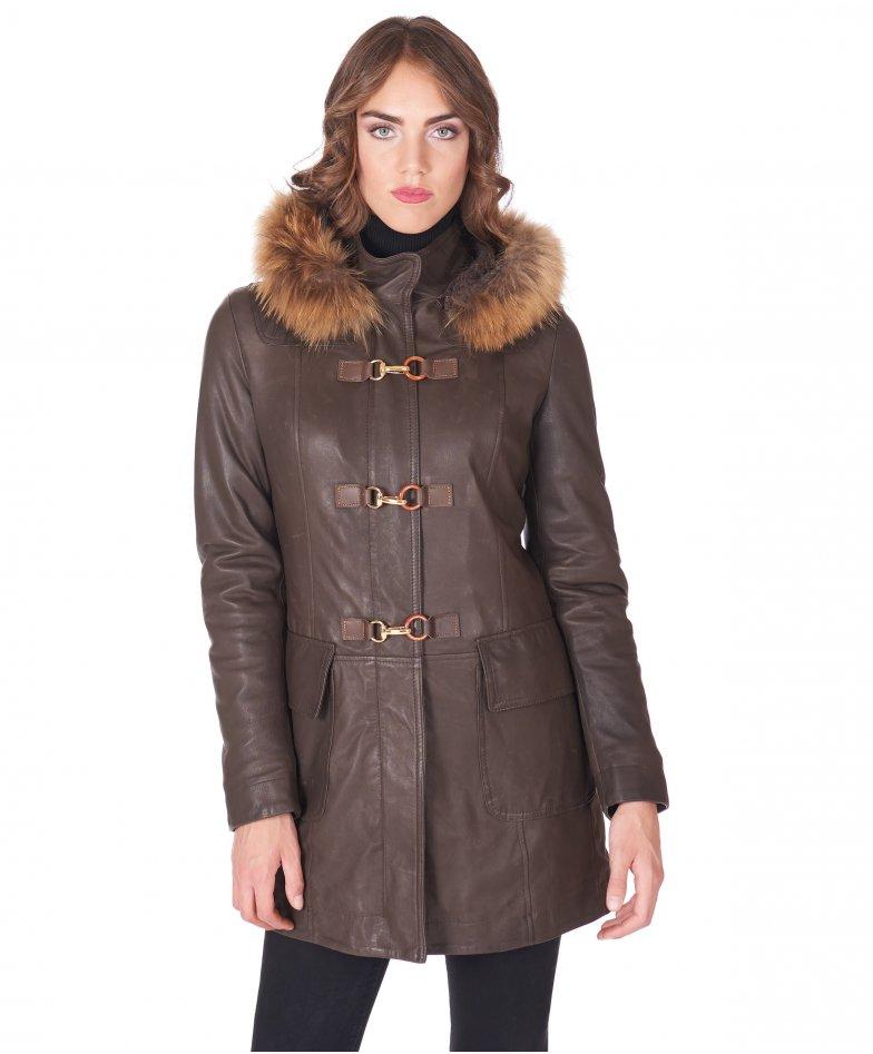 Dark brown hooded natural lamb leather coat