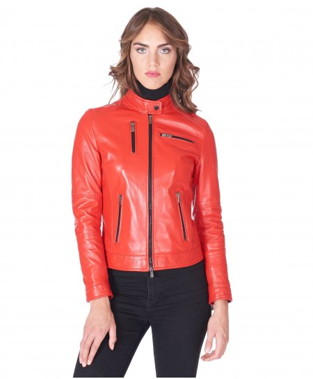 Coral nappa lamb leather biker jacket four zipper pockets