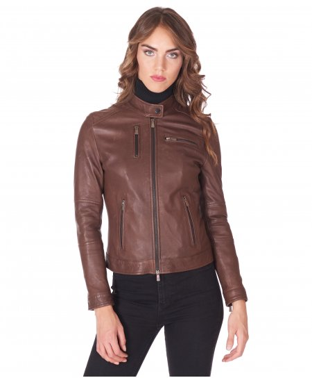 Dark brown natural lamb leather biker jacket four zipper pockets