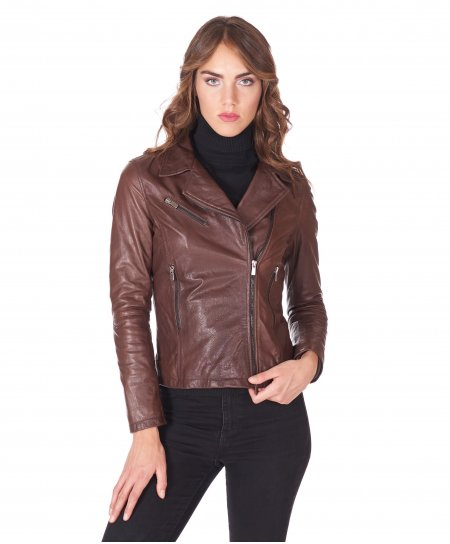 Dark brown goat leather perfecto jacket three zipper pockets
