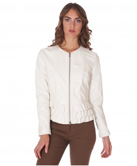 White nappa lamb leather jacket waist flounces