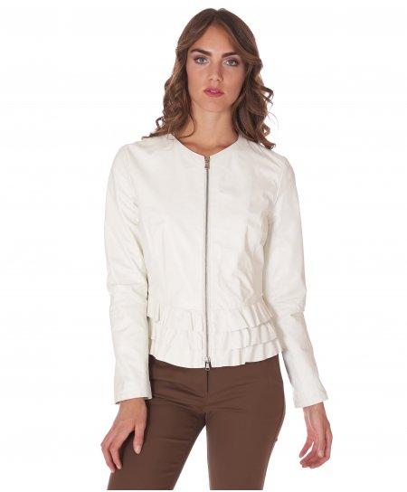 White nappa lamb leather jacket waist flounces