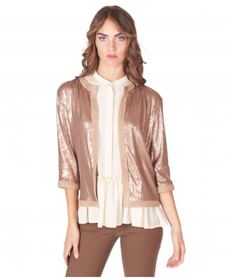 Beige suede lamb leather paillettes shirt