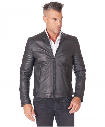 Green nappa lamb leather biker jacket topstitched on shoulders