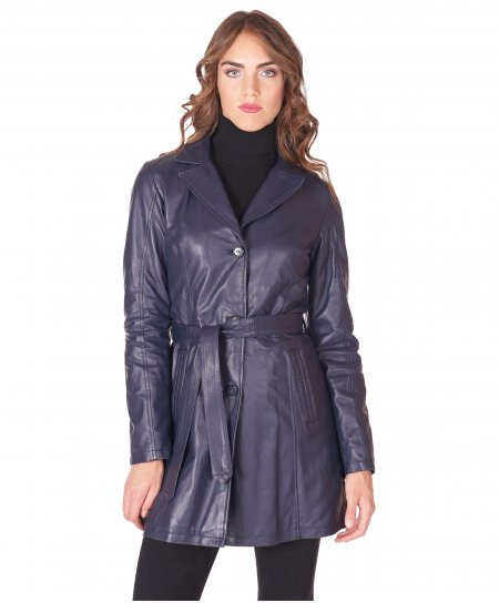 Blue belted nappa lamb leather coat jacket collar