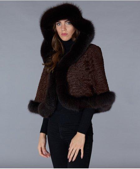 Persian and fox fur hooded cape • mahogany colour