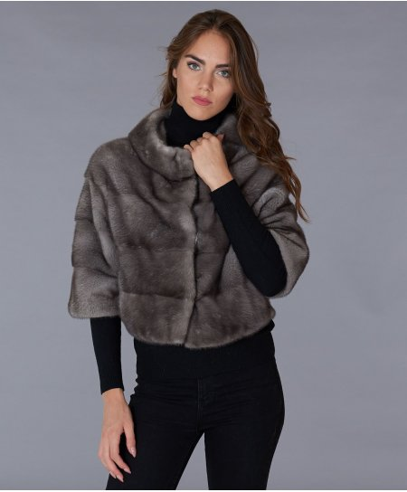 Mink fur jacket sleeve 3/4 round collar • grey colour