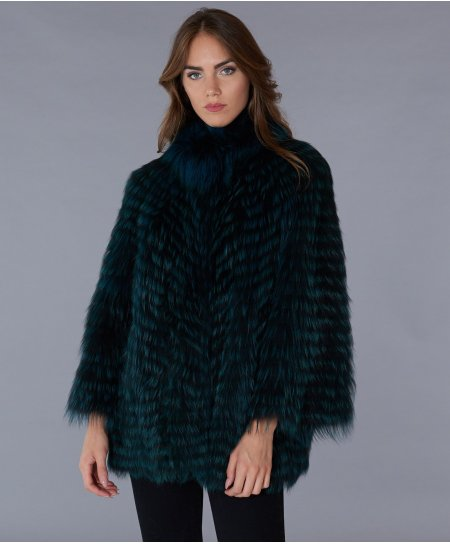 Fillet fox fur cape round collar short wide sleeve • green colour