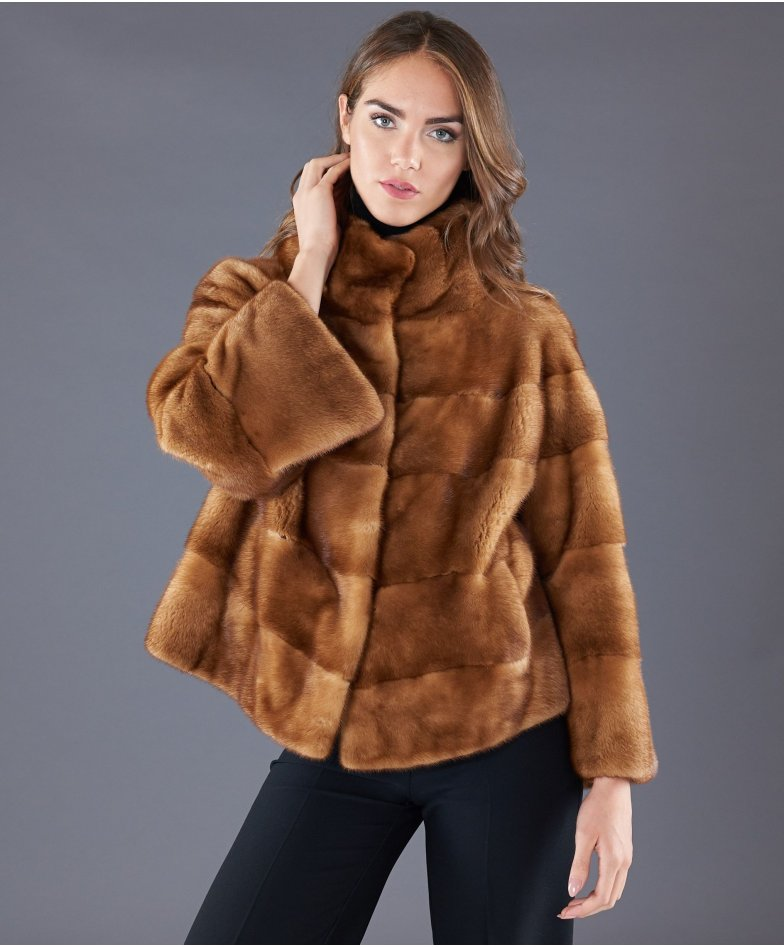 Mink fur jacket long sleeve round collar • honey colour