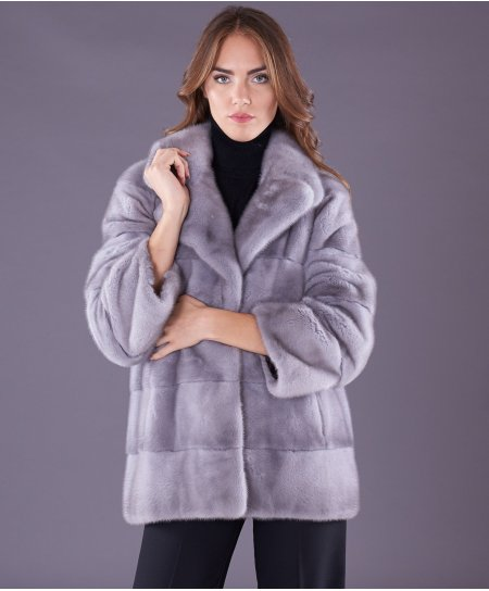 Mink fur jacket long sleeve and jacket collar • sapphire colour