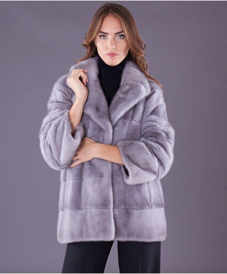 Mink fur jacket long sleeve and jacket collar • sapphire colour