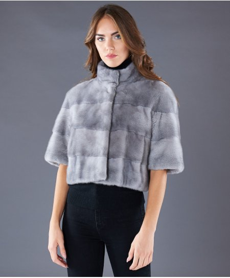Mink fur jacket short korean collar • sapphire colour