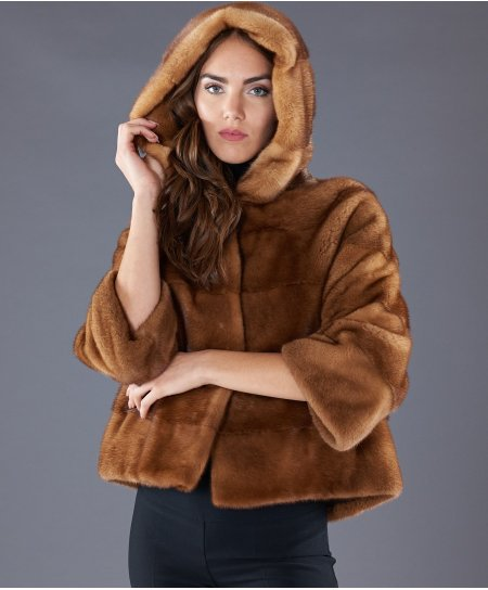 Mink fur jacket with hood and sleeve 3/4 • honey colour