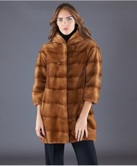 Mink fur hooded coat sleeve 3/4 • honey colour
