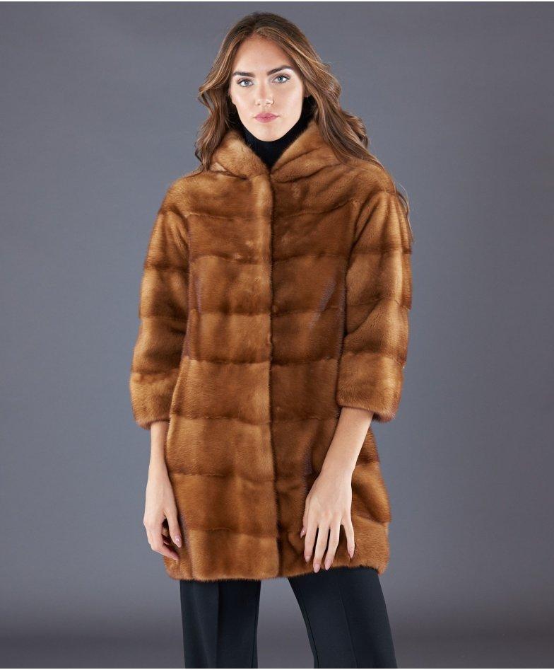 Mink fur hooded coat sleeve 3/4 • honey colour