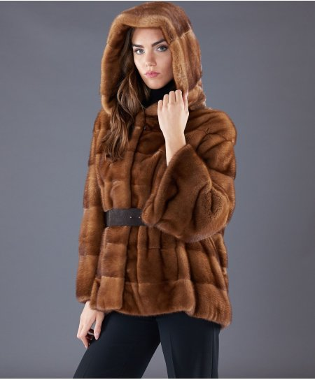 Mink fur belted jacket long sleeveand hood • honey colour