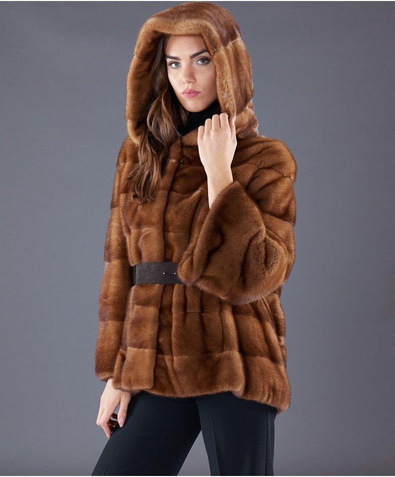 Mink fur belted jacket long sleeveand hood • honey colour