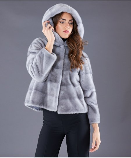 Mink fur jacket with hood and sleeve 3/4 • sapphire colour