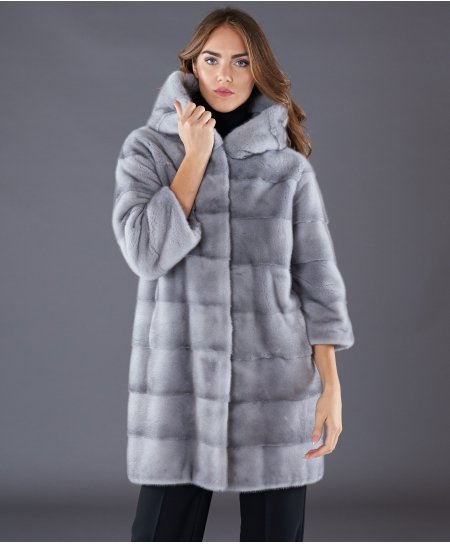 Mink fur hooded coat sleeve 3/4 • sapphire colour