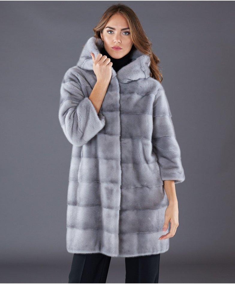Mink fur hooded coat sleeve 3/4 • sapphire colour