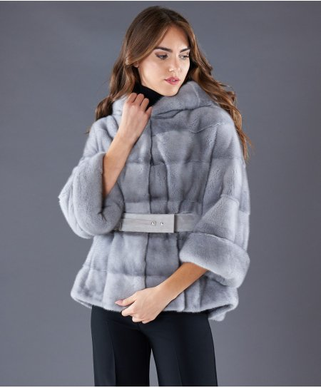Mink fur belted jacket sleeve with hood • sapphire colour