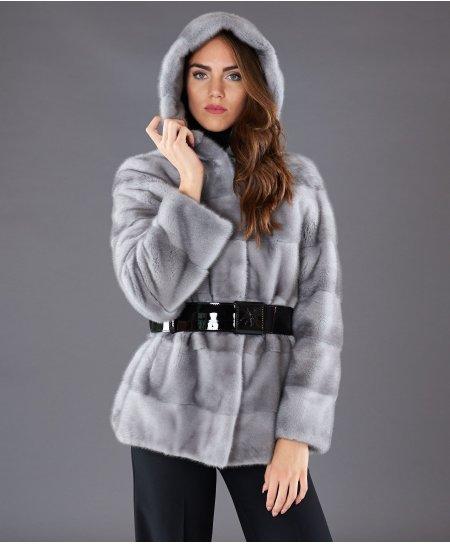 Mink fur hooded jacket long sleeve • sapphire colour