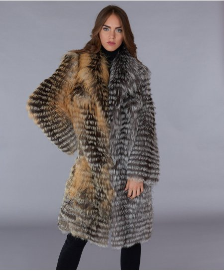 Filed fox fur coat long sleeve V collar • brown black colour