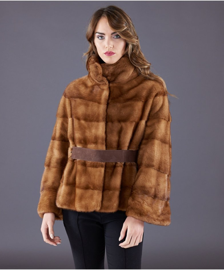 Mink fur belted jacket sleeve 3/4 • honey colour