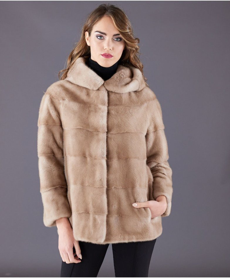 Mink fur jacket long sleeve and hood • beige colour