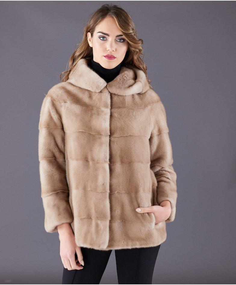 Mink fur jacket long sleeve and hood • beige colour