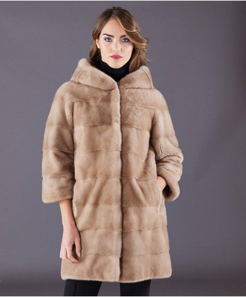 Mink fur hooded coat sleeve 3/4 • beige colour