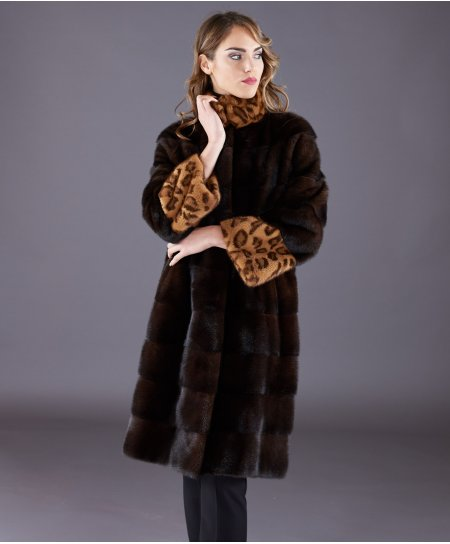 Mink fur coat high collar and long sleeve • mahogany colour