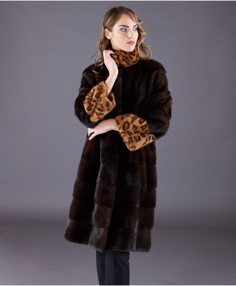 Mink fur coat high collar and long sleeve • mahogany colour