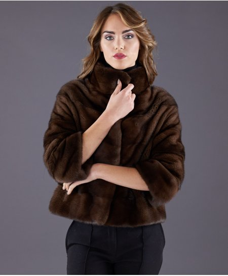 Mink fur jacket sleeve 3/4 • mahogany colour