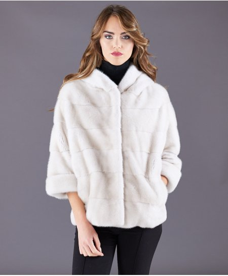 Mink fur jacket with hood and sleeve 3/4 • beige colour