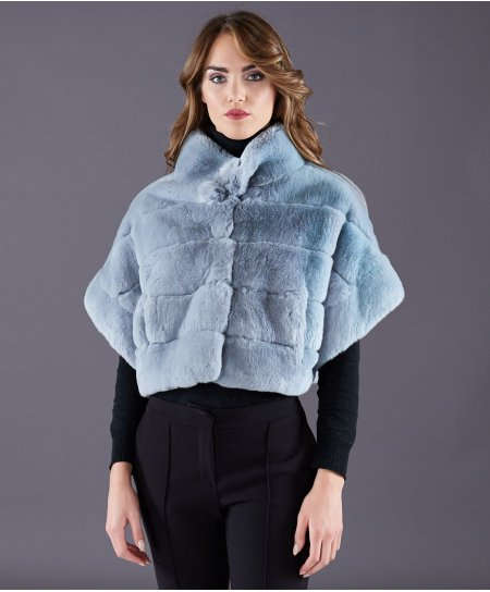 Rex rabbit fur jacket short sleeve • sapphire colour