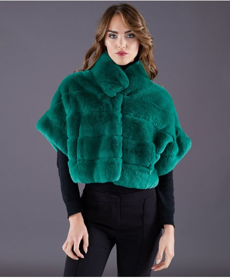 Rex rabbit fur jacket short sleeve • green colour
