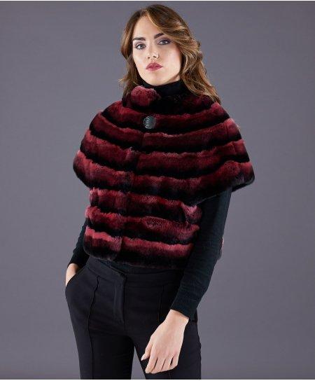 Rex rabbit fur jacket horizontal lines • red colour